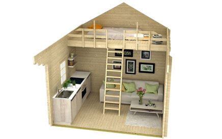 Peacock woodcraft the peacock lofted bunkie for Bunkie interior designs